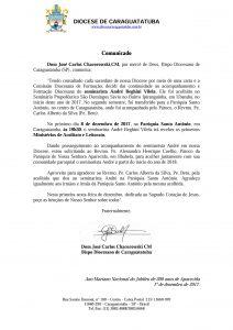 Comunicado Seminarista Andre Vilela
